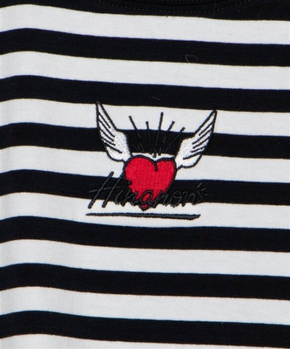 Hinanon ボーダーハート刺繍Tシャツ